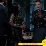 Özge Özpirinçci partide giydiği siyah transparan elbise Raissa Vanessa. Serenay Sarıkaya deri ceket Derimod.