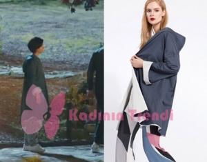 Cesur ve Güzel 25 Bölümde Tuba Büyüküstün'ün giydiği gri uzun yağmurluk markası Npi Triko