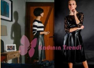 Cesur ve Güzel Sühan Deri etek Esra Gürses Tasarımıdır Showroom.com dan satınalabilirsiniz. Siyah beyaz çizgili kazak İpekyol.