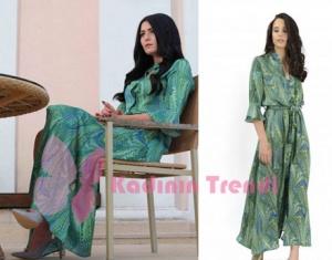 Eşkiya Dünya'ya Hükümdar Olmaz 67. Bölüm Deniz Çakır yeşil elbise desenli elbisesi Nammu markadır.