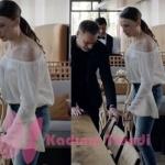 Fi 7. Bölüm kıyafetleri Duru beyaz ispanyol kollu bluz markası