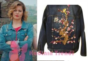 Hayat Şarkısı Burcu Biricik arka kısmı işlemeli kot ceket Jaquette marka