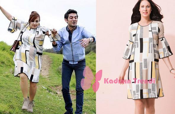 No 309 Filiz simetrik desenli hamile elbisesi Even Fashion Hamile Giyim marka.