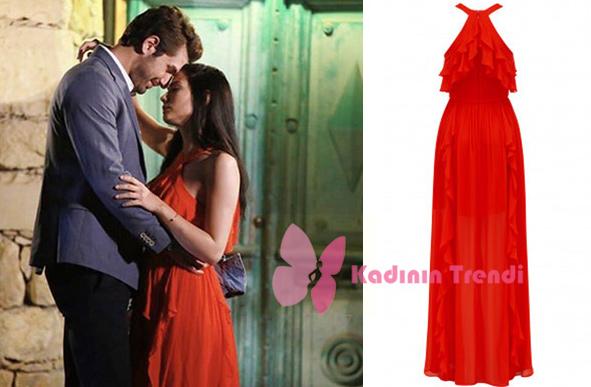 No 309 48. bölüm Lale kırmızı elbise Forever New Marka