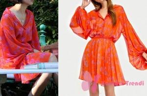 Cesur ve Güzel 31. Bölüm Dizi Kıyafetleri Sühan turuncu şifon elbise İpek Yol marka