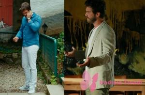 Cesur ve Güzel Kıvanç Tatlıtuğ mavi kot gömlek beyaz pantolon ve beyaz spor ayakkabı kombini ve kıvanç tatlıtuğ krem rengi spor ceket