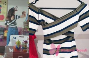 Kara sevda dizisinin 74. bölümünde (Final) Nihan'ın giymiş olduğu yeşil beyaz çizgili bluz markası Liu Jo.