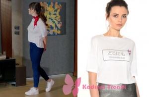 Dolunay 1 ve 2. bölüm dizi kıyafetleri Nazlı beyaz tişört Boynerden. kot pantolon markası Cross