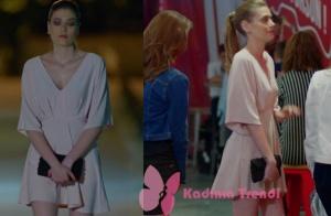Dolunay 2. bölüm Fatoşun giydiği pudra rengi elbise markası araştırılıyor
