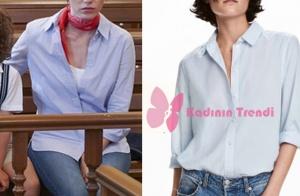 Dolunay Nazlı mavi gömlek markası H&M
