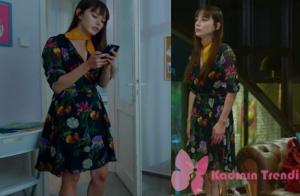 Dolunay 4. bölüm Nazlı çiçekli siyah elbise ve sarı boyun bağı kombini