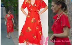 Dolunay Dizi Kıyafetleri Fatoş kırmızı elbise Koton
