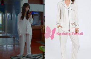 Dolunay dizisinin 3. bölümünde, Nazlı karakterinin giymiş olduğu, beyaz pijama takımı markası Lutino.