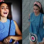 KAlp Atışı dizi kıyafetleri Esma bandana Lidyana Esma mavi beyaz pütikareli bluz Fine Apple marka