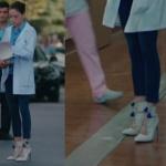 Kalp Atışı Eylül mavi ponponlu krem rengi ayakkabı