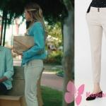 Kalp Atışı dizisinde,Bahar krem rengi pantolon markası Mango