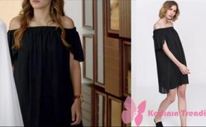 Ateş Böceği 3. ve 4. bölüm Dizi kıyafetleri Aslı omuzları düşük siyah elbise Lidyana