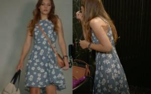 Ateş Böceği 5. bölümde Aslının giyidiği Beyaz çiçekli mavi elbise görseli