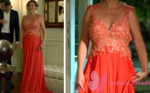 Ateş-Böceği-5.-ve-6. bölüm dizi kıyafetleri Barışın teyzesi Handanın turuncu abiye elbisesi