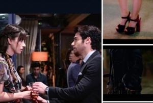 Dolunay 26 eylül bölümünde Özge gürelin bordo topuklu ayakkabıları İlvi marka. Özge Gürel siyah minik çanta Aigner Munich markadır.