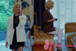 Dolunay Demet beyaz ceket siyah mini elbise Demet kahver rengi ceket beyaz pantolon ve stiletto markaları