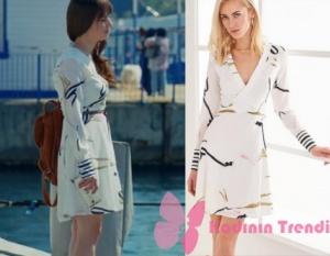 Dolunay Nazlı beyaz elbise Trendyol