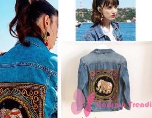 Nazlı sırt kısmı desenli mavi jean ceketEastern Stories
