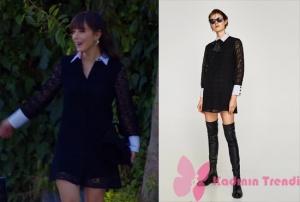 Dolunay Nazlı kolları ve yakası beyaz siyah elbise Zara