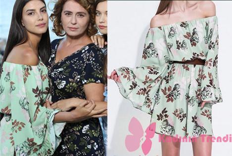 Fazilet Hanım ve Kızları 14. Bölüm Dizi Kıyafetleri Fazilet Hanım ve Kızları dizisinde, Hazan karakterinin giymiş olduğu çiçek desenli elbise markası My Best Friends.