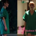 Fazilet Hanım ve Kızları Yasemin kolları volanlı yeşil elbise