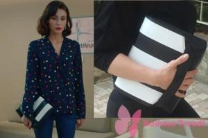 Kalp Atışı İpek siyah beyaz çanta Pinky Lola marka