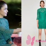 Kap Atışı kıyafetleri 12. bölümde 21 eylülde Esma yeşil elbise hangi marka. yeşil güpürlü elbise Zara marka