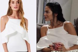 beyaz omuzları düşük fırfırlı bluz markası Forever New