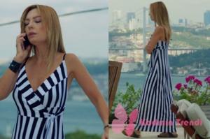 Rüya 4. Bölüm Ruhşan siyah beyaz çizgili elbise markası