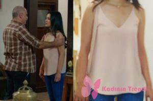 Rüya dizi kıyafetleri Elif pudra askılı bluz mango marka