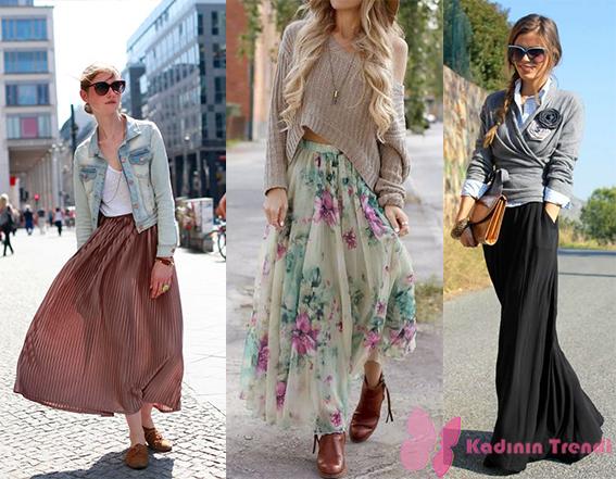 Sokak modası sonbahar uzun etek kombin örnekleri