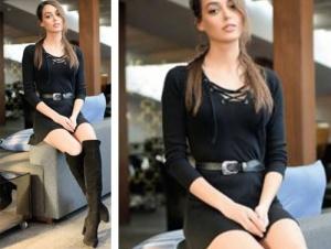 Çukur dizisi Sena'nın siyah elbise ve siyah çizme kombini Sena siyah elbise markası araştırılıyor. Siyah Çizme İnci Deriden
