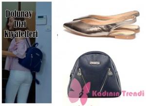 Asuman Karakterinin Babetleri Lolas Heels marka.Sandwich Model Lacivert Vegan Sırt ÇantasıPinky Lola Design markadır.