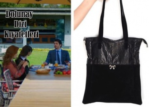 Dolunay Asuman hakiki deri süet siyah omuz çantası Pinky Lola design markadır