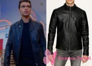 Dolunay Deniz kıyafetleri Deniz - Hakan Kurtaş siyah deri ceket Mavi marka