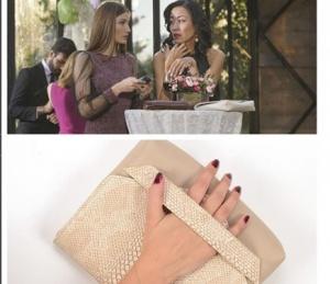 Dolunay Dizisi düğün sahnesinde Manami'nin vegan bej çantası Pinky Lola marka