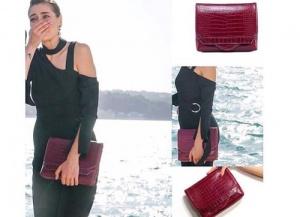 Dolunay Fatoş bordo el çantası Pinky Lola Design marka