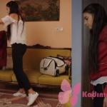 Fazilet Hanım ve Kızları Hazan bordo deri ceket hazan beyaz bluz hazan siyah pantolon Hazan spor ayakkabu Adidas