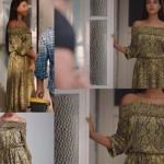 Fazilet Hanım ve Kızları Hazan omuzları açık elbise ADL marka