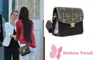 Fazilet Hanım ve Kızları Hazan siyah omuz çanta Pinky Lola Design marka
