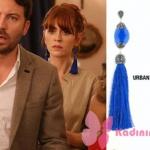 Fazilet Hanım ve Kızları kıyafetleri 19. bölüm Yasemin mavi püsküllü küpe Urban Quin marka