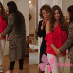 Fazilet hanım ve Kızları Ece kırmızı omuzları açık bluz beyaz pantolon ve ayakkabı kombini