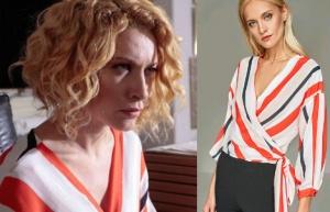 Meryem Dizisi 6. bölüm kıyafetleri Derin renkli çizgili bluz sponsoru Trendyol.
