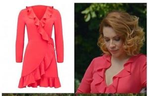 Meryem dizisi Derinin giydiği Fırfırlı kırmızı elbise Forever New marka