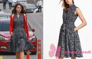 Meryem'in 4. bölümde giydiği gri çiçek desenli elbise markası Brooks&Brothers